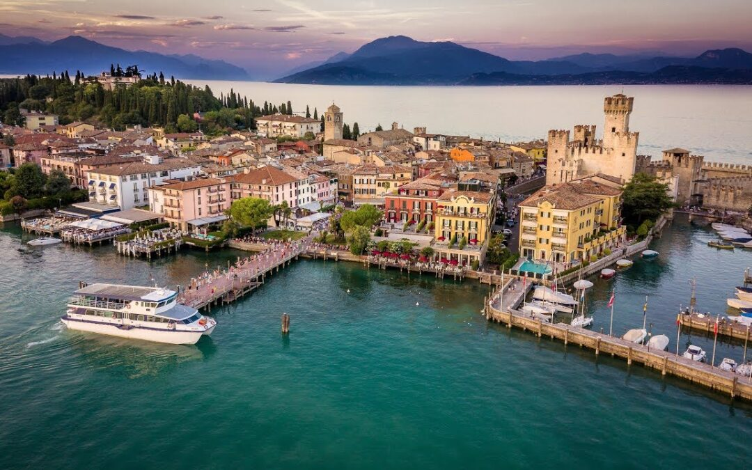 "The Scaliger Castle. Castle on Lake Garda or ""Sinking castle""."